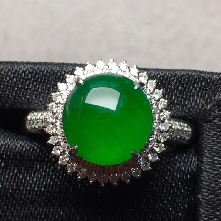 帝王绿冰种圆形翡翠戒指