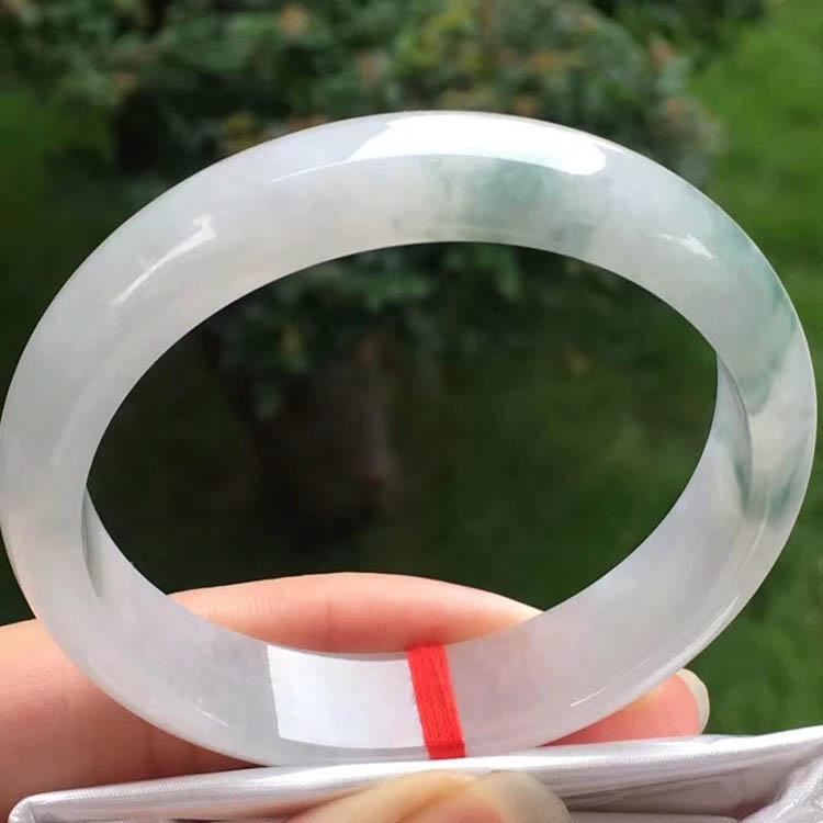 飘花冰糯种翡翠正圈手镯55.8mm第1张