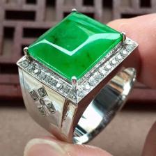 阳绿冰种方形翡翠戒指(男款)