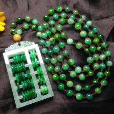 冰糯种浓绿翡翠项链(如意算盘)