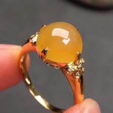 冰种黄翡戒指(圆形)