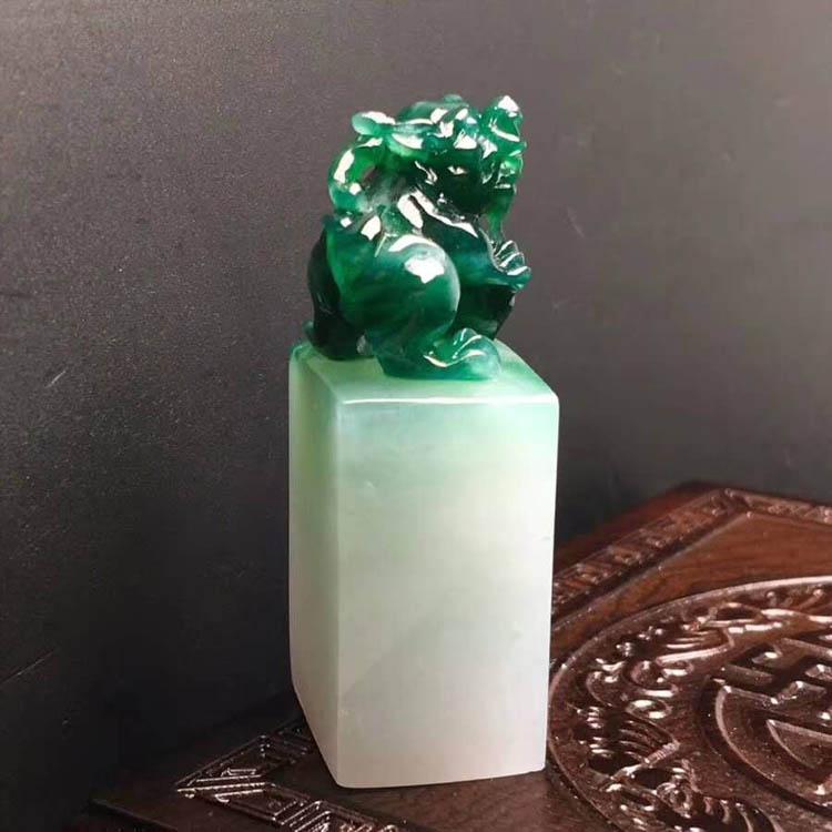 糯种浓绿貔貅印章翡翠摆件第4张