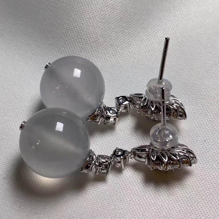 无色冰种珠子翡翠耳环第5张