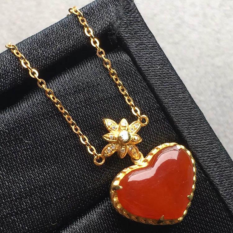 紅翡冰糯種愛心項鏈