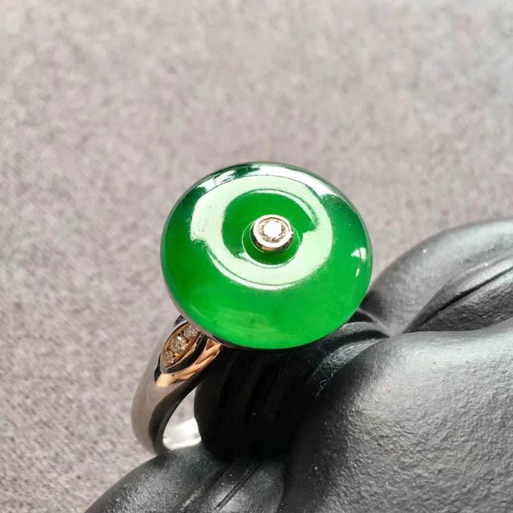阳绿冰种平安扣翡翠戒指第6张
