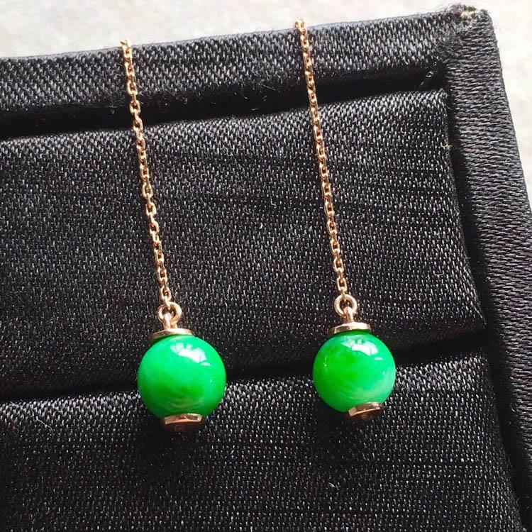 冰种阳绿翡翠珠珠耳线坠(起胶)