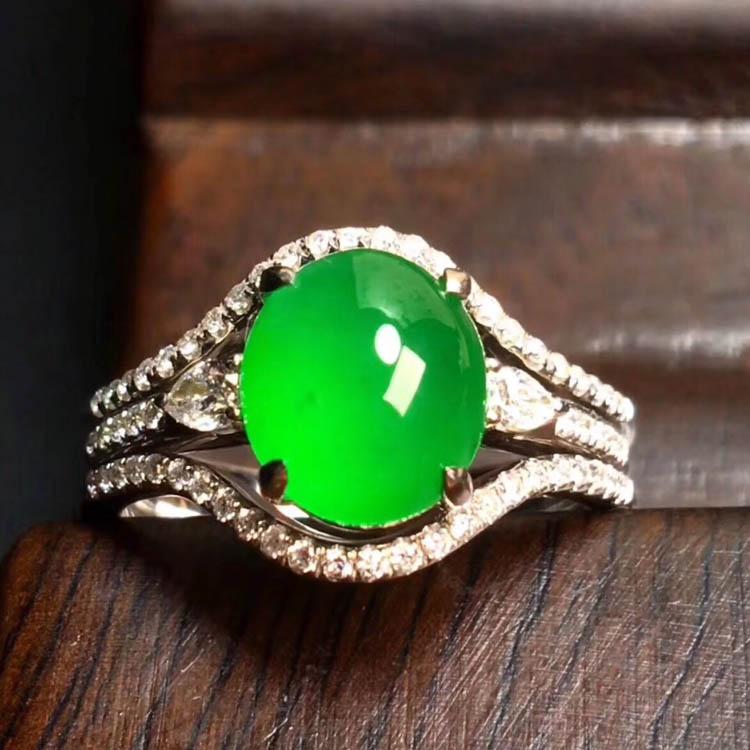 阳绿冰种翡翠戒指(蛋面)第3张