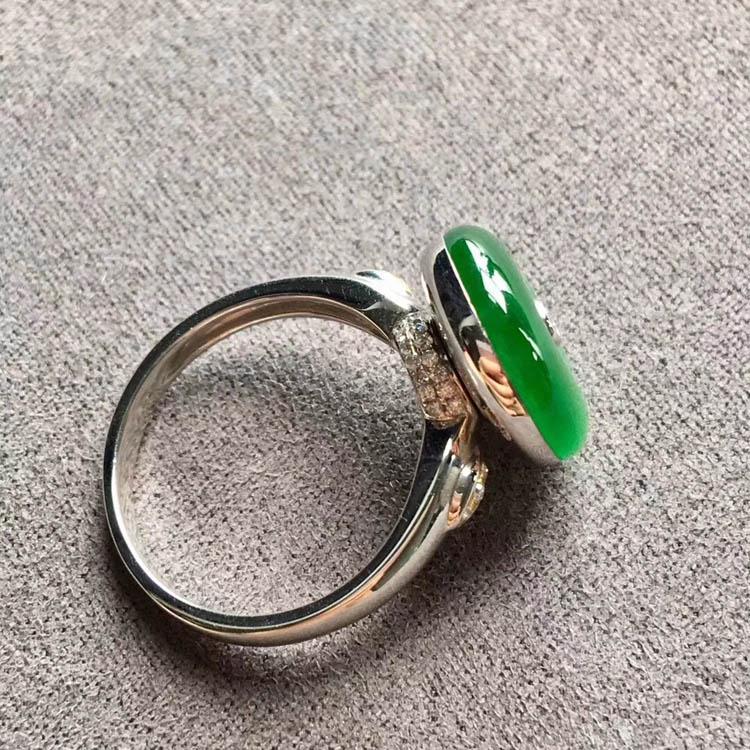 阳绿冰种平安扣翡翠戒指第5张