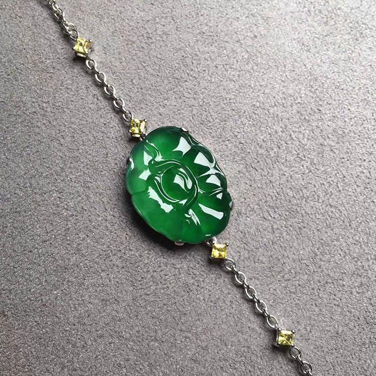 高冰种帝王绿牡丹花翡翠手链