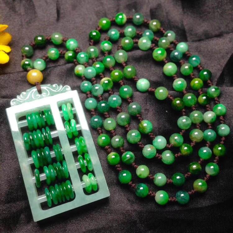 冰糯种浓绿翡翠项链(如意算盘)第2张