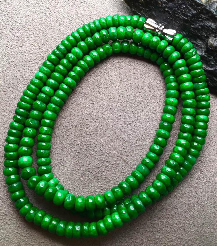 干青种色辣满绿翡翠珠链第5张