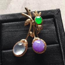 冰种三色蛋面翡翠胸针(无色+紫罗兰+阳绿)