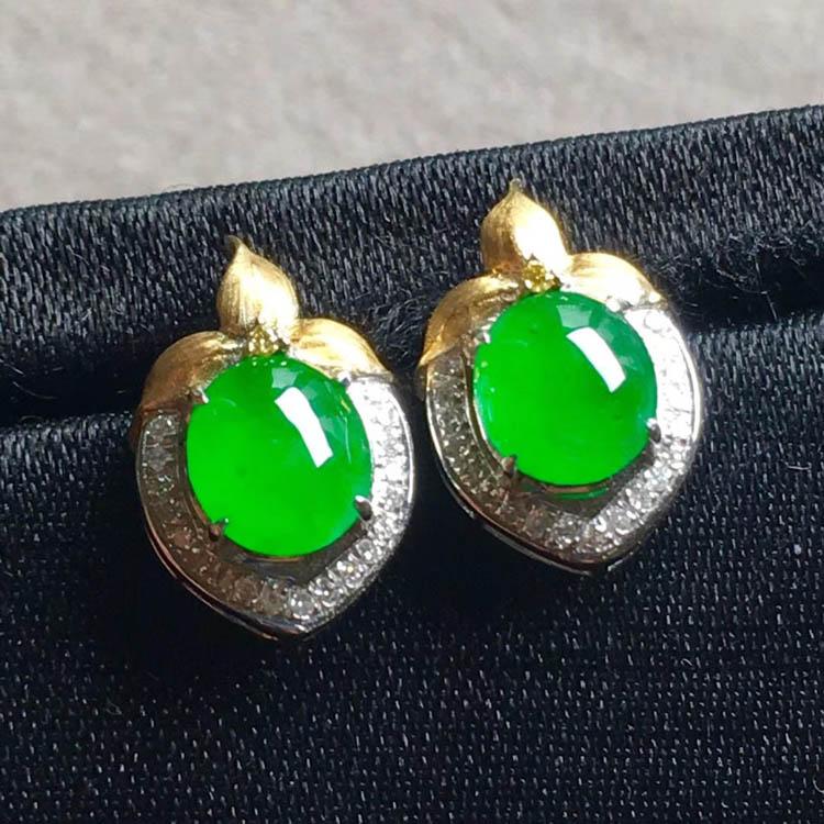 正阳绿冰种翡翠耳钉(蛋面)