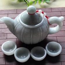【菱形纹茶具】糯种灰白色翡翠摆件