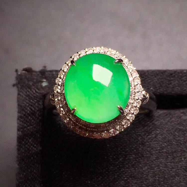 冰种正阳绿翡翠戒指(圆形)第3张