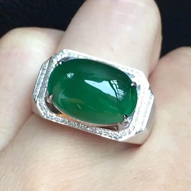 菠菜绿冰种翡翠戒指(蛋面)第1张