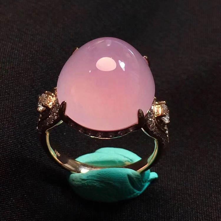 粉紫色蛋面冰种翡翠戒指第5张