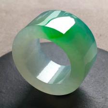 冰糯种种飘阳绿翡翠扳指