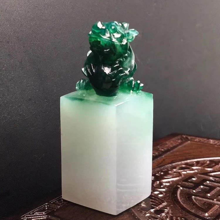 糯种浓绿貔貅印章翡翠摆件第1张