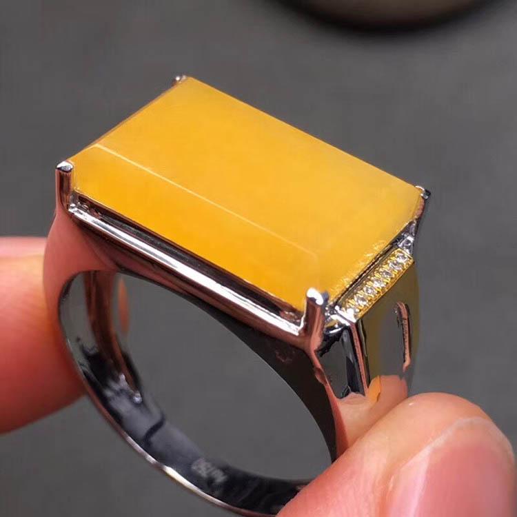 糯冰种黄翡男士戒指