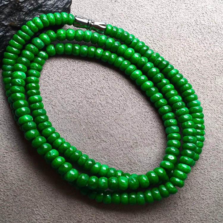 干青种色辣满绿翡翠珠链第3张
