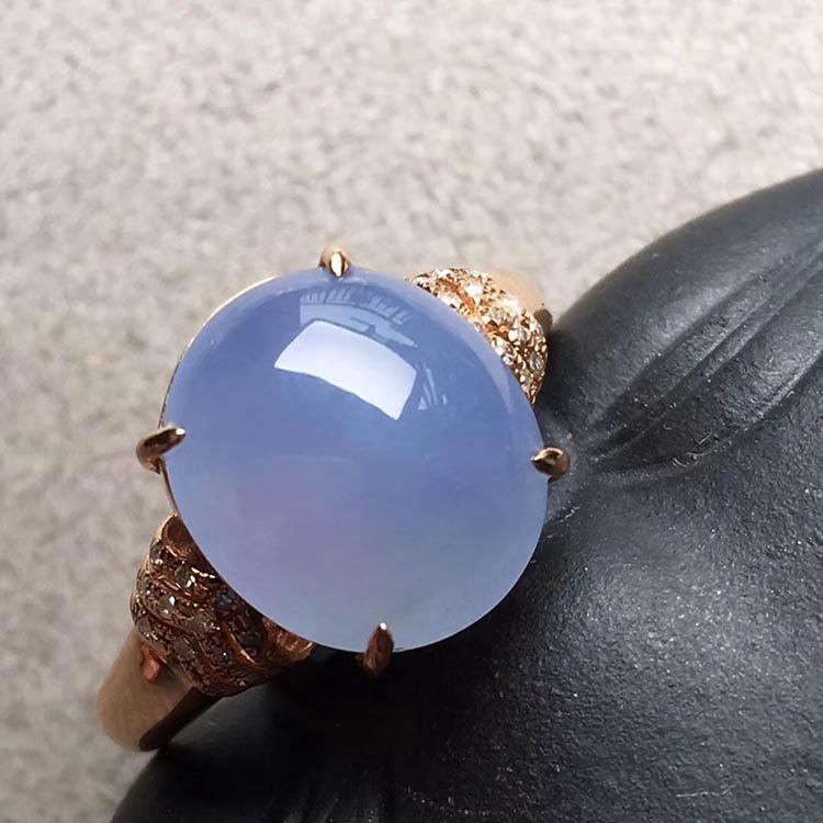 紫罗兰冰种蛋面翡翠戒指