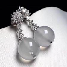 无色冰种珠子翡翠耳环