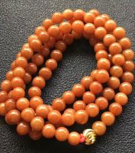 糯种红翡珠子项链(108颗)