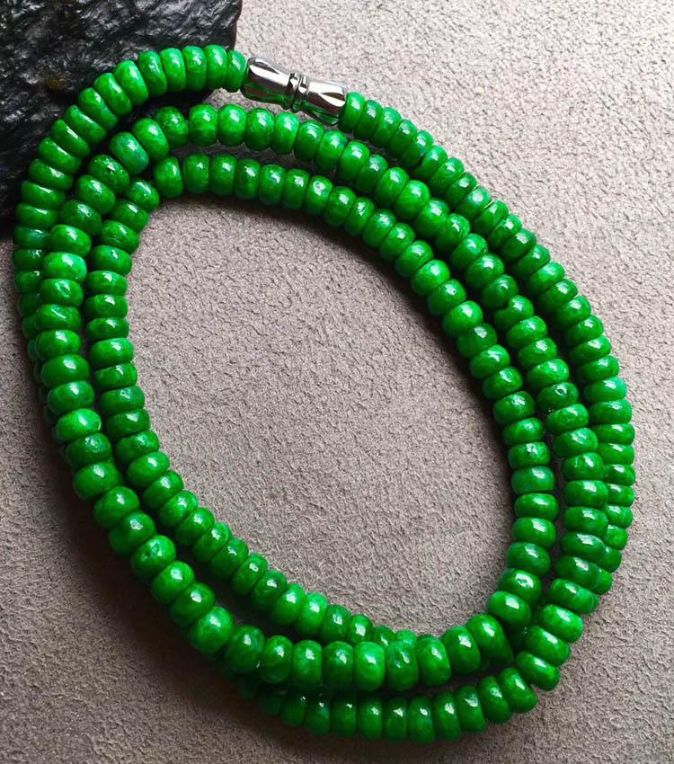 干青种色辣满绿翡翠珠链第4张