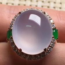 高冰紫罗兰蛋面翡翠戒指