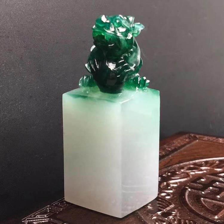 糯种浓绿貔貅印章翡翠摆件第6张