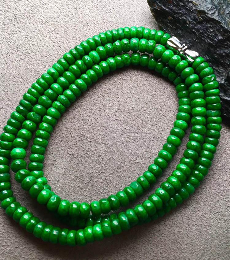干青种色辣满绿翡翠珠链第1张