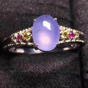 紫罗兰冰种翡翠戒指(蛋面)