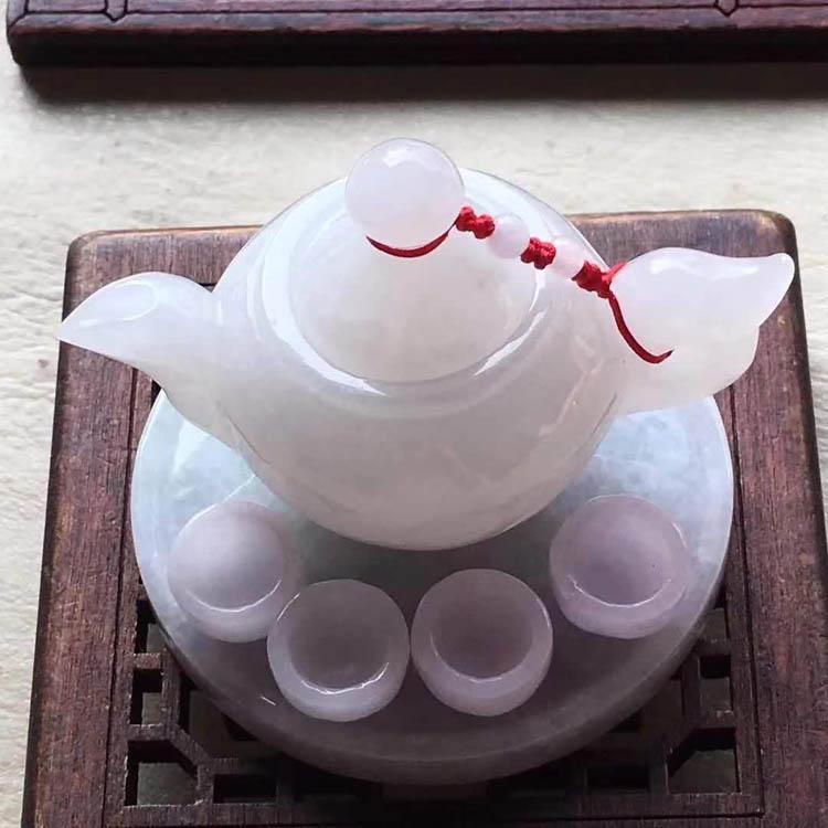【茶具】粉紫罗兰糯种翡翠摆件