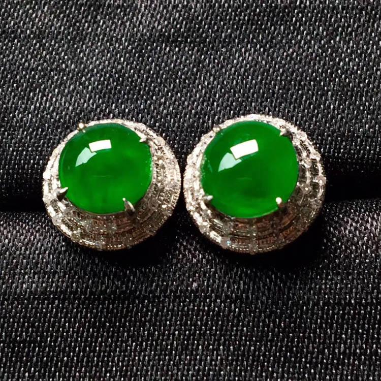 高冰种阳绿翡翠耳钉(圆形)