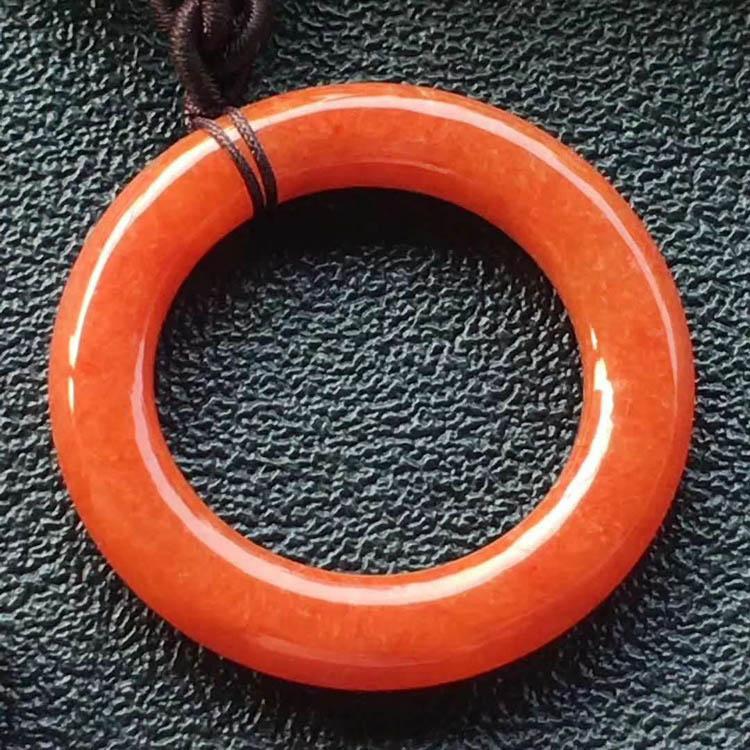 糯種紅翡平安扣掛件(圓條型)