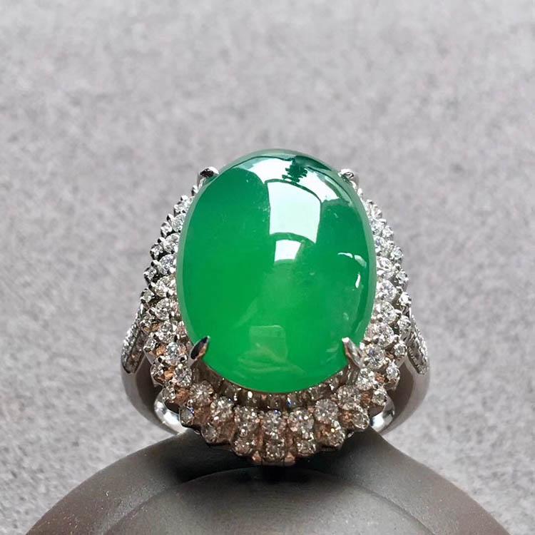 高冰种阳绿蛋面翡翠戒指、吊坠(两用)第5张