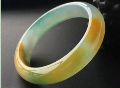 黄加绿冰糯种翡翠扁管手镯