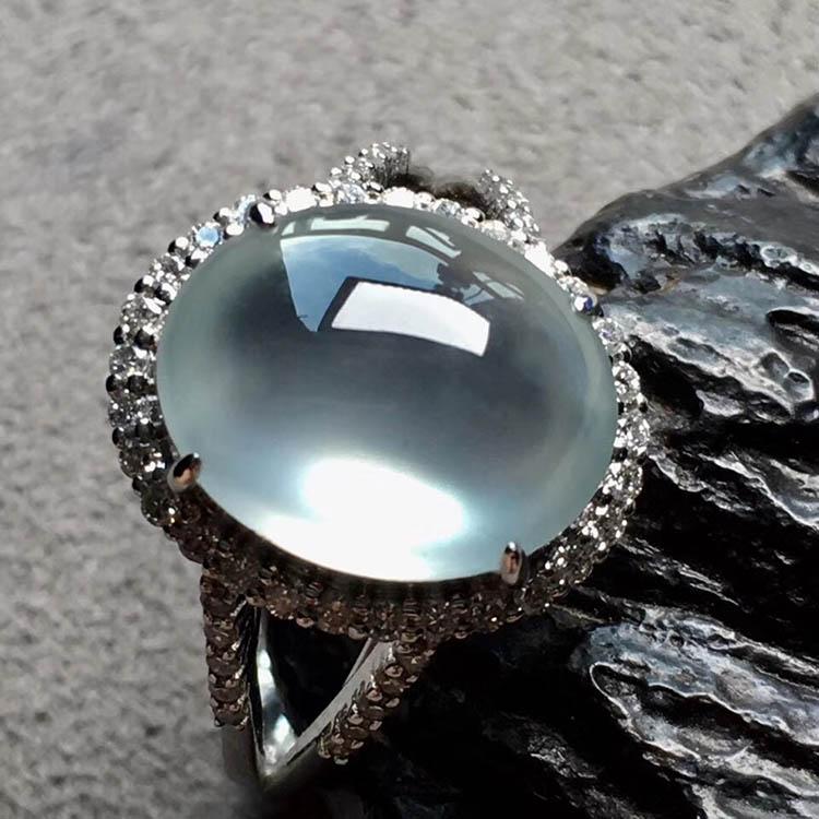 玻璃种无色蛋面翡翠戒指第6张