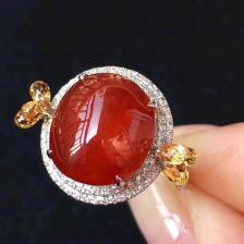 冰种红翡蛋面戒指