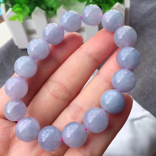 冰糯种紫罗兰翡翠手链