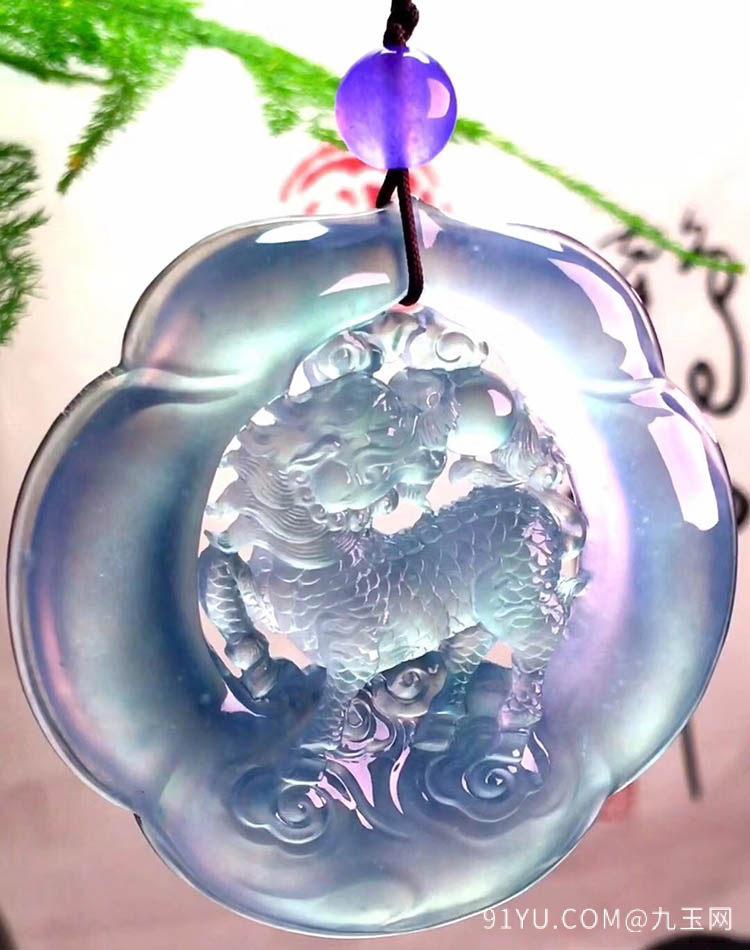 高冰种春带彩麒麟翡翠挂件第4张