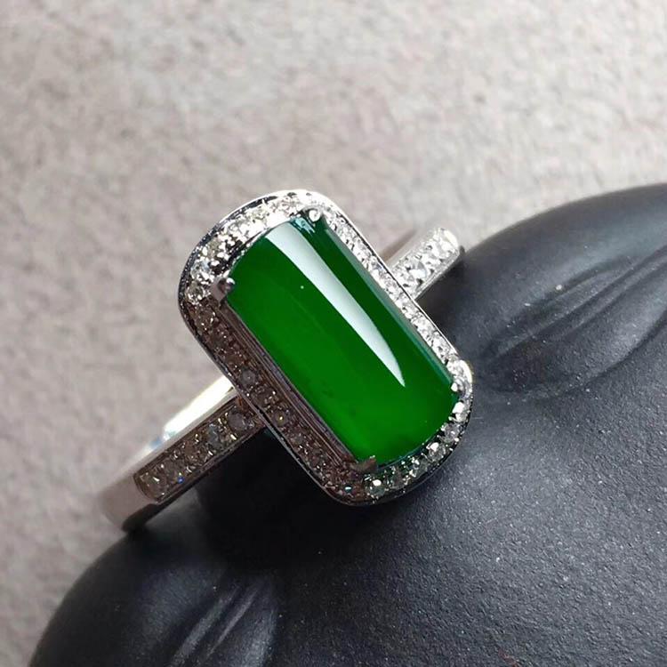 冰种帝王绿马鞍翡翠戒指