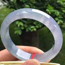茄紫色糯冰种翡翠手镯 正圈57mm