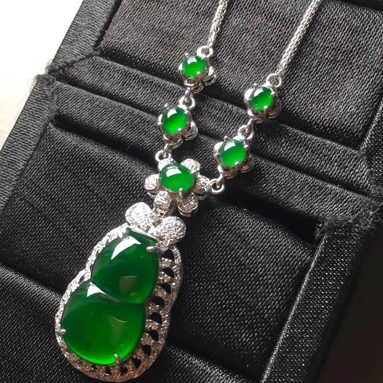 冰种帝王绿葫芦翡翠项链