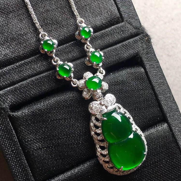 冰种帝王绿葫芦翡翠项链第3张