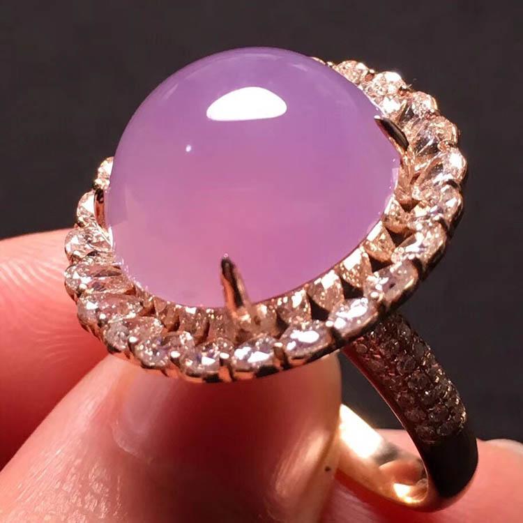 冰种粉紫蛋面翡翠戒指第5张