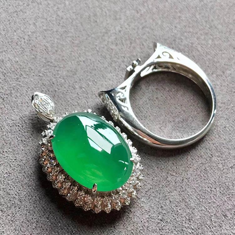 高冰种阳绿蛋面翡翠戒指、吊坠(两用)第2张