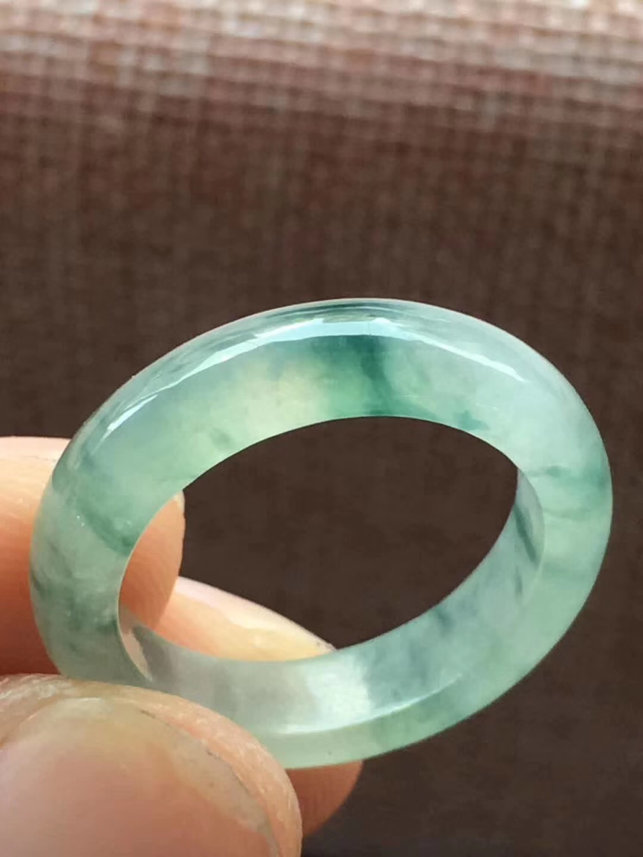 冰糯种飘花翡翠指环