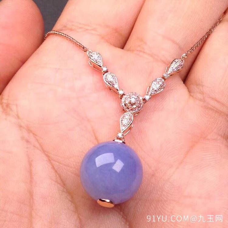 紫罗兰糯冰种翡翠珠子项链吊坠第1张